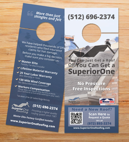 Superior One Roofing | Door Hanger Design