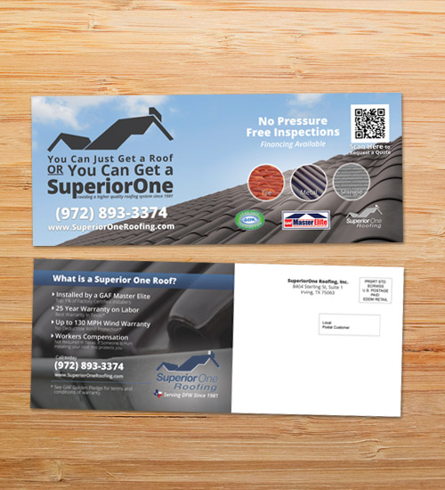 Superior One Roofing | EDDM Postcard Design