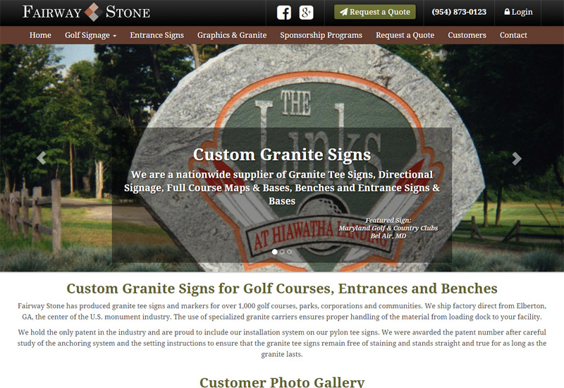 Fairway Stone | Granite Signs for Golf Courses, Entrances, Tee Signs, Benches and more